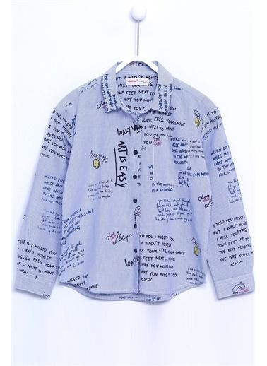 Silversun Kids Gömlek Dokuma Uzun Kollu Yazı Baskılı Gömlek Kız Çocuk Gc 310311 Mavi